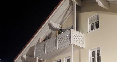 7.10.19, B3 in Ginselsried, Feuer auf Balkon