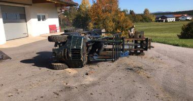 14.10.19, Gefahrstoff, auslaufender Kraftstoff in March; Unfall mit Stapler