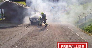 Brand eines PKW bei Fernsdorf